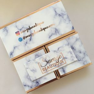 Double door blue marble eyelashes packaging